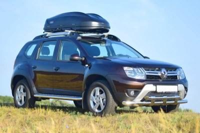Защита порогов с алюм. площадкой 51 мм «Эстонец» (НПС) на Renault Duster