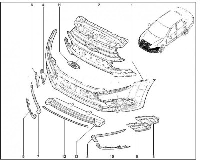 Передний бампер Lada Granta Drive Active