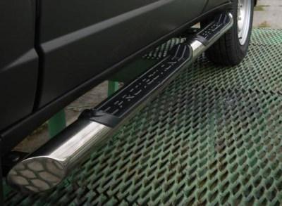 Защита порогов с накладками 76 мм (НПС) Chevrolet NIVA
