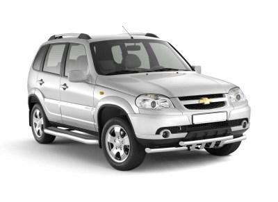 Защита порогов с алюминиевой фигурной площадкой (НПС) Chevrolet NIVA