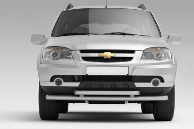 Защита переднего бампера двойная 63/51 мм (ППК) Chevrolet NIVA