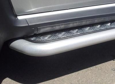 Защита порогов с алюминиевой площадкой 51 мм (ППК) Renault DUSTER
