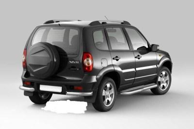 Защита заднего бампера угловая (НПС) 63 мм на Chevrolet Niva ВАЗ 2123.